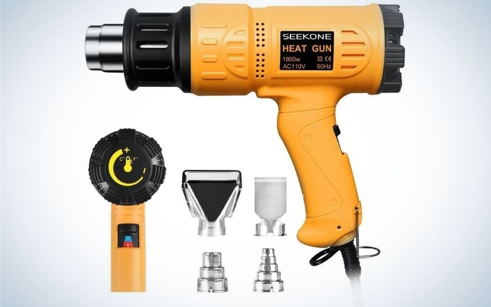 Yellow SEEKONE Heat Gun with Four Nozzles Accessories in it.