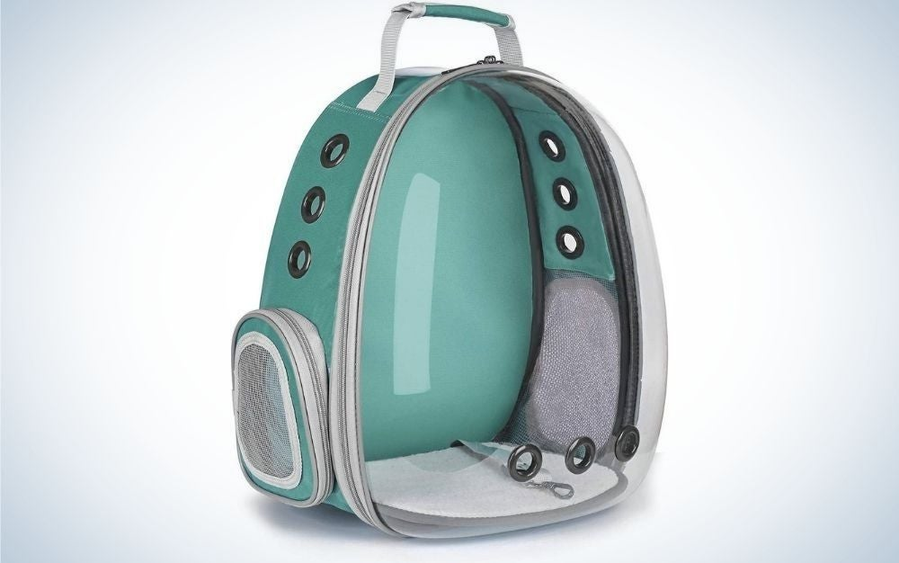 Grey, turquoise colored with transparent front part backpack with a small top handle from front.