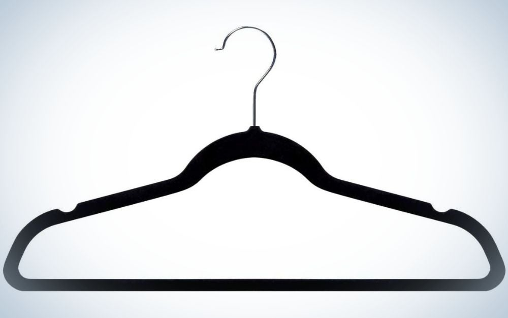black clothes hanger with gray head