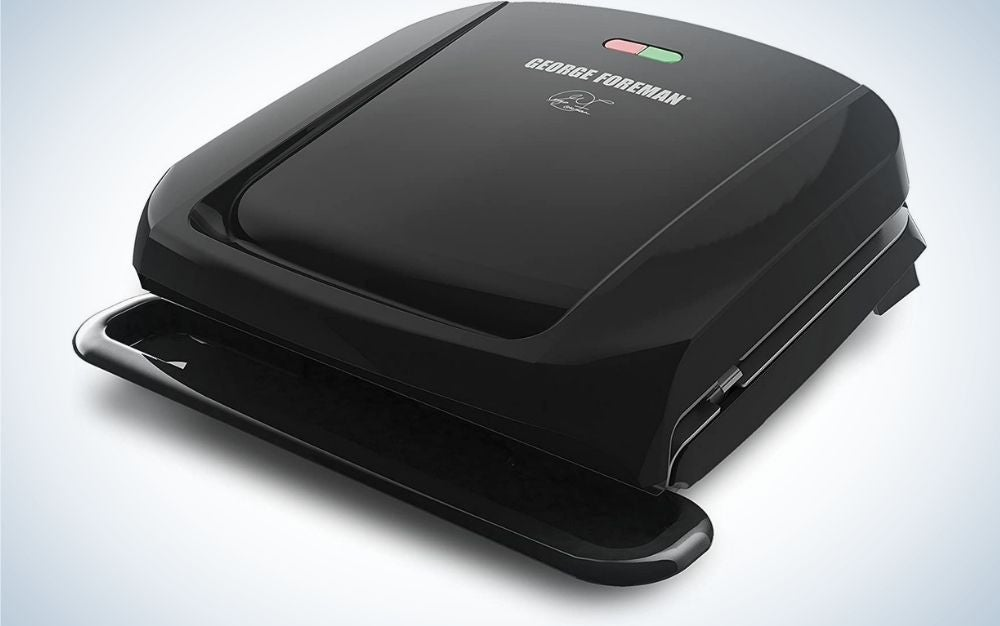 A black square George Foreman plate grill and panini press.