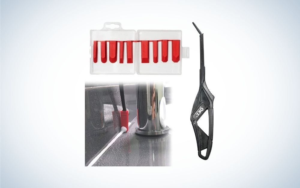 Caulking tool kit with silicone finishing tools and red pads