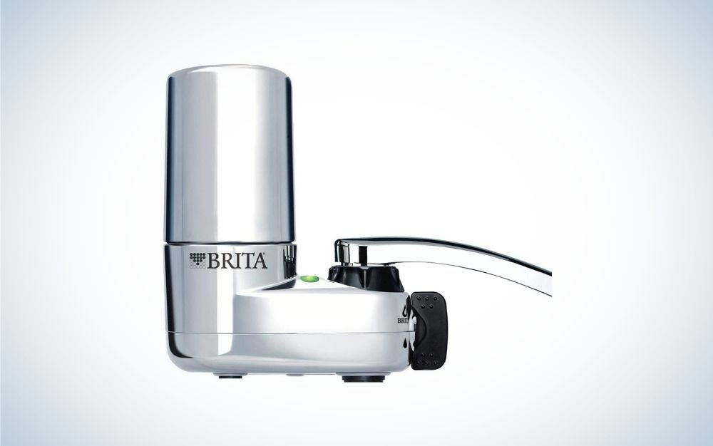 Vertical white and black faucet water filter