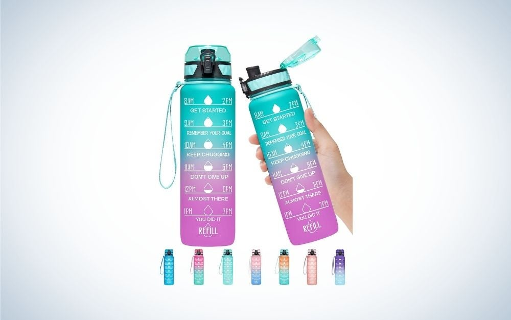Different colorful refill motivational water bottles with different time markers and quotes