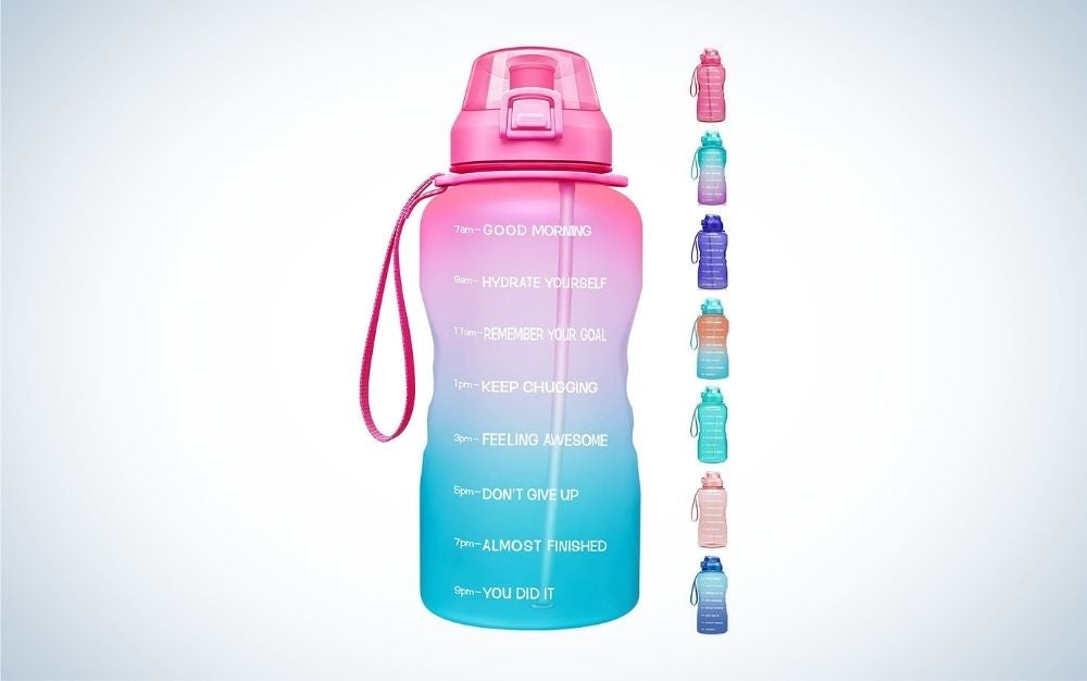 A light pink and green gradient and other colorful motivational water bottles with different time markers and motivational quotes