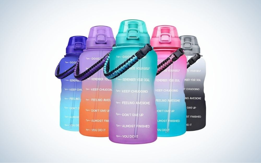 Five motivational water bottles with different colors, a paracord handle, and removable straw