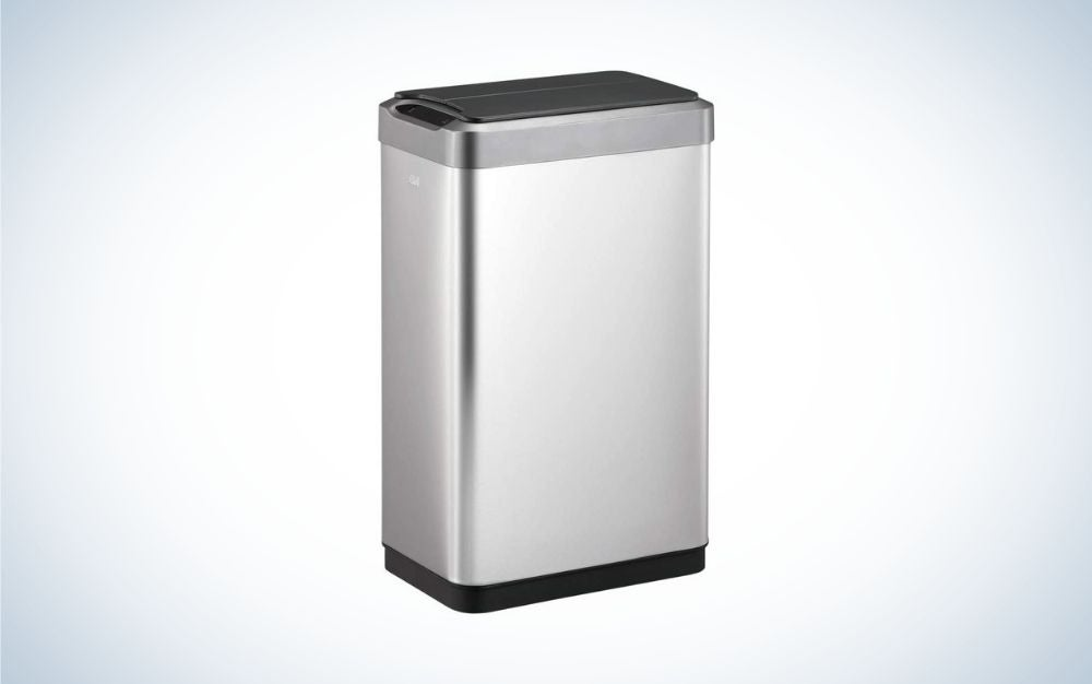 Vertical black and silver touchless trash can