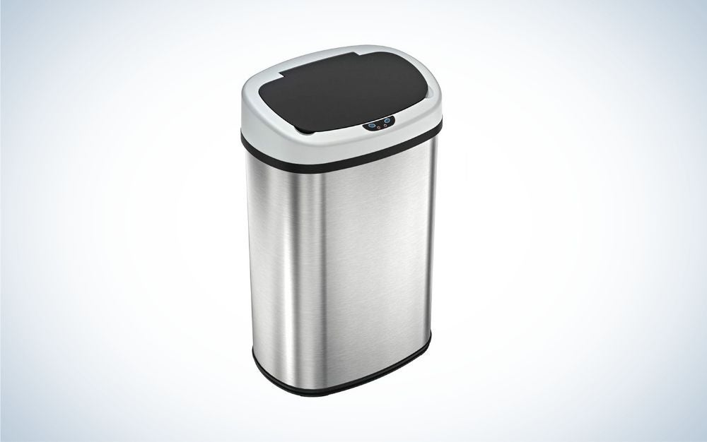 Black and silver touchless trash can