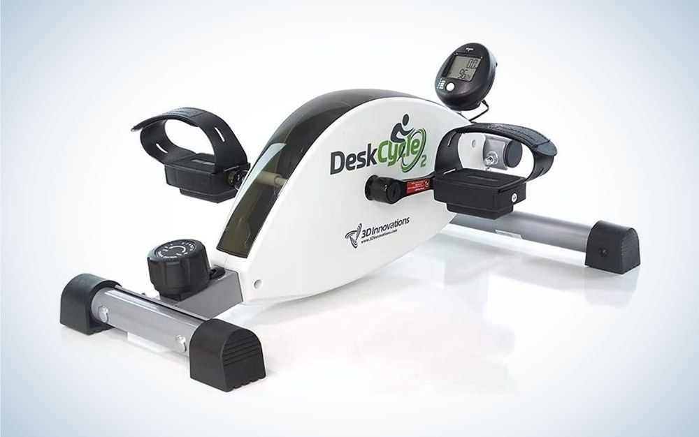 Black and white under-desk bike with adjustable legs and exercising pedals