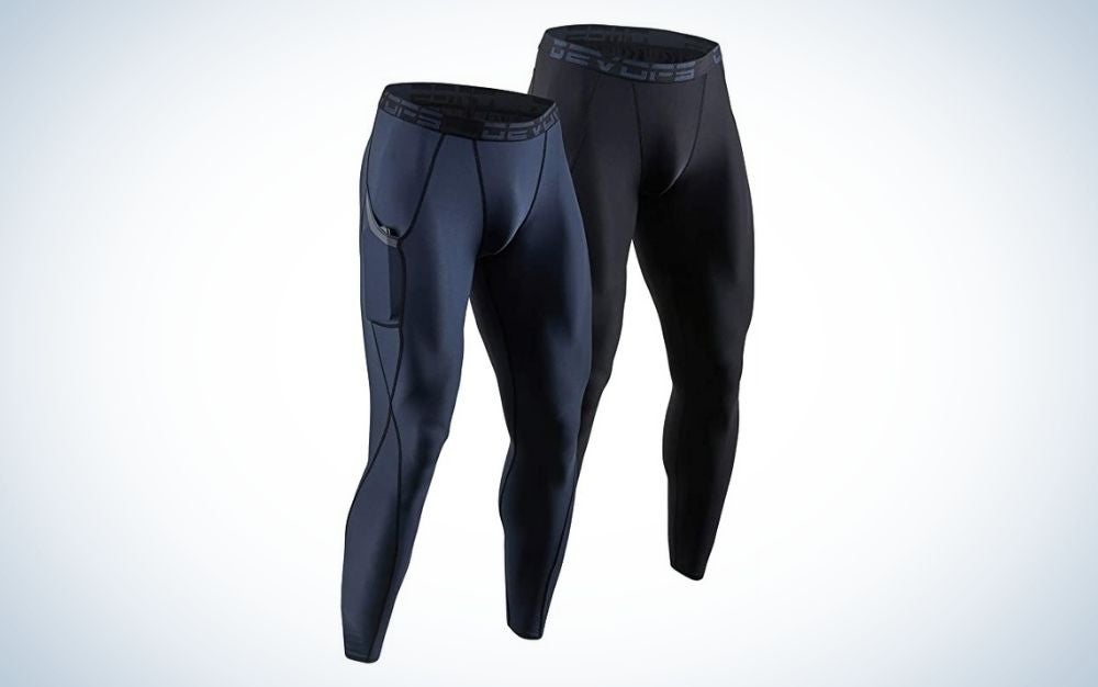 2 pack black and charcoal men's running tights with and without pockets