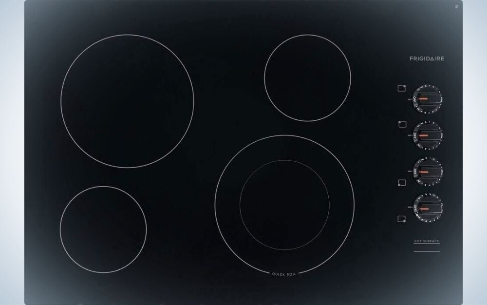 A solid black plate with four white lined spheres in it.