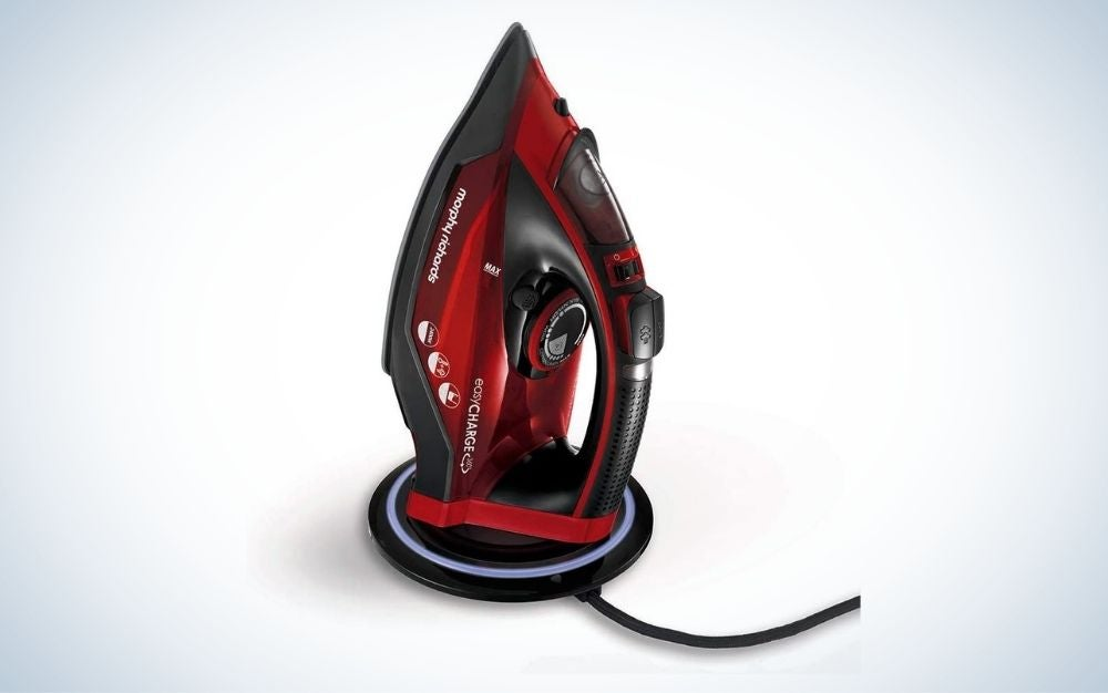 Black and red cordless steam iron