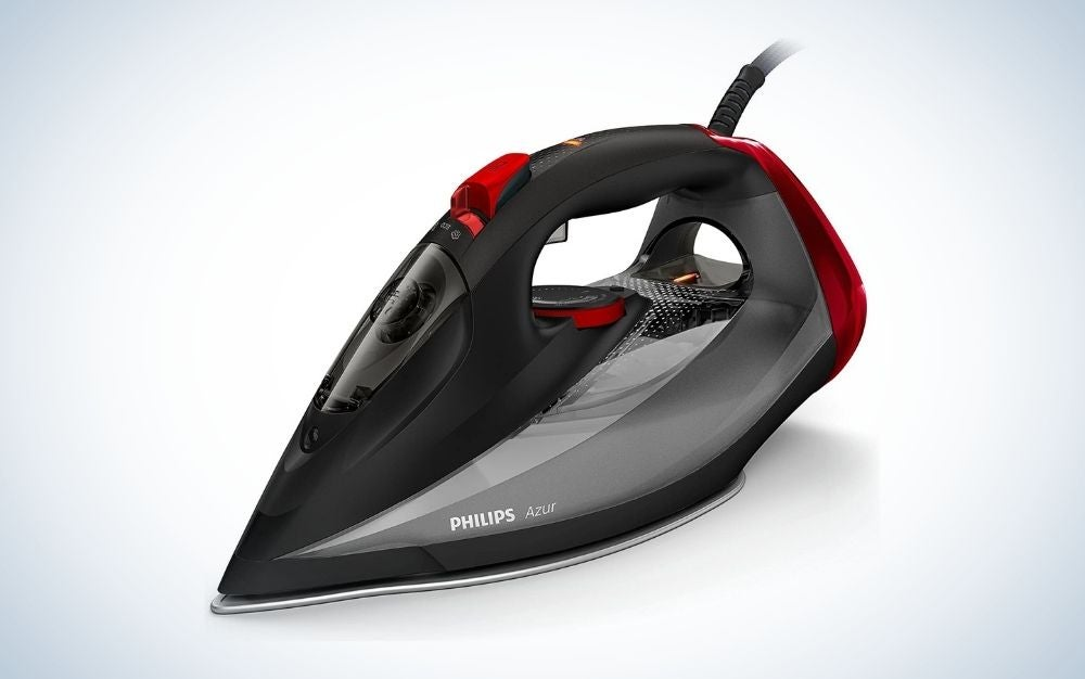 Black, grey, and red Philips steam iron