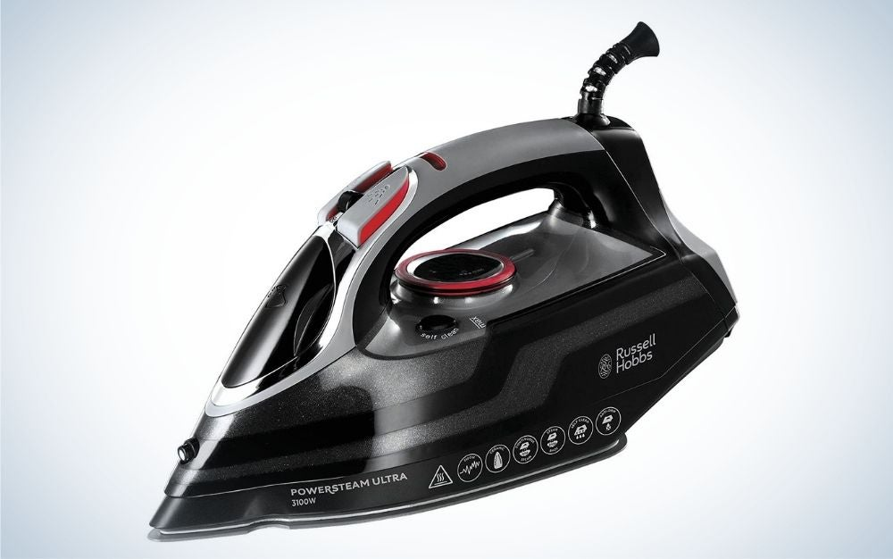 Black and grey vertical steam iron