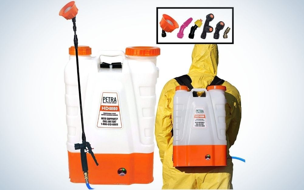 White and orange backpack garden sprayer with two wide mouth lids