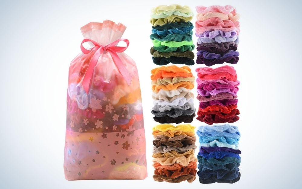 60 pieces velvet hair scrunchies with gift bag