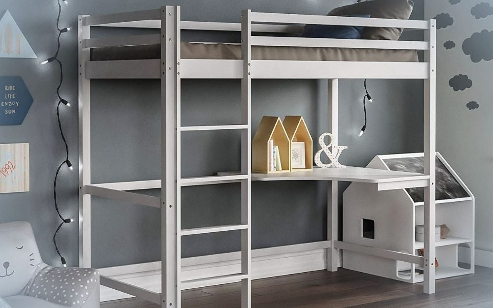 High sleeper bunk bed with white bed frame