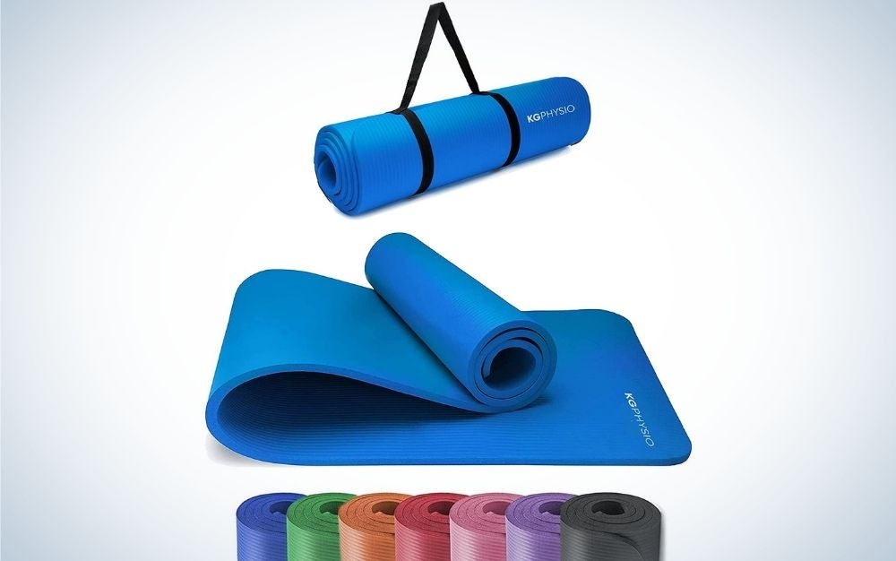A yoga matte blue color from above and below, half encased and half light and with seven other colors underneath.