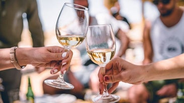 Two woman hands holding two wine glasses filled with white wine until the middle of the glass and making cheers with each other.