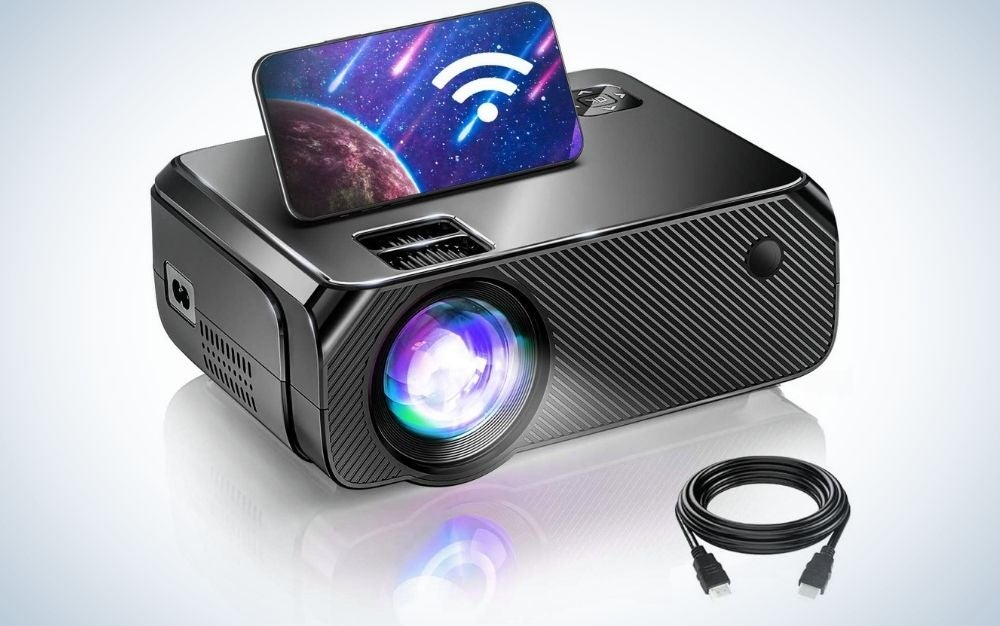 Mini, black, outdoor projector with remote control