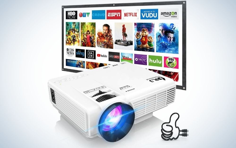 White, outdoor movie projector