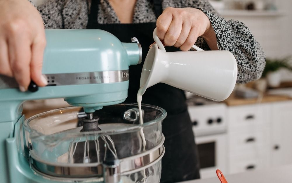 Person using a stand mixer