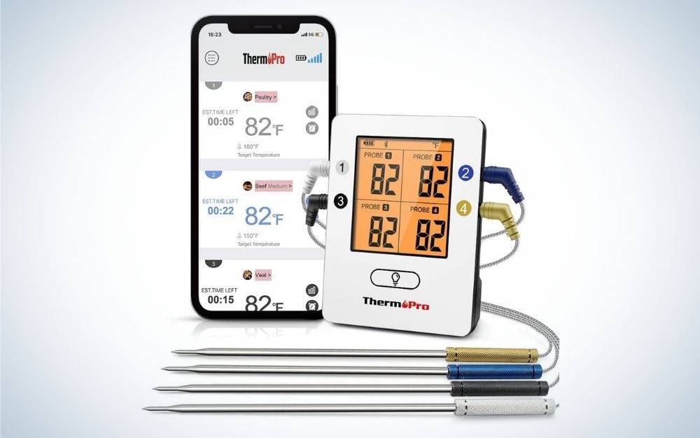 Wireless Bluetooth meat thermometer with 4 temperature probes