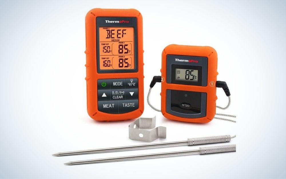 Orange, wireless meat thermometer with remote and dual probe for smoker grill