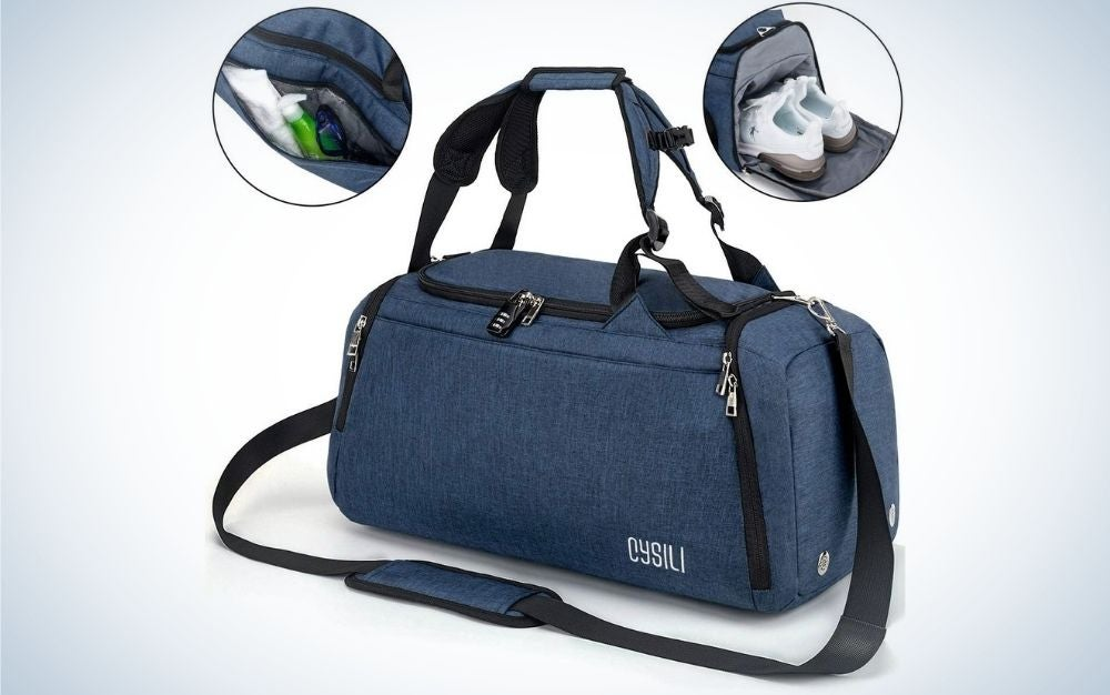 A small dark blue bag with two holders in the shape of belts in it and a long belt too and with the brand name on the side o f it, also two figures demonstrating what you can put inside the bag.