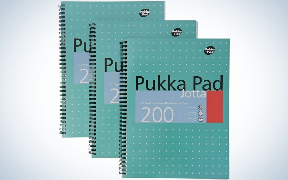 Three green notebooks arranged in a row with each other, as well as with a spiral on their sides to connect the sheets to each other.