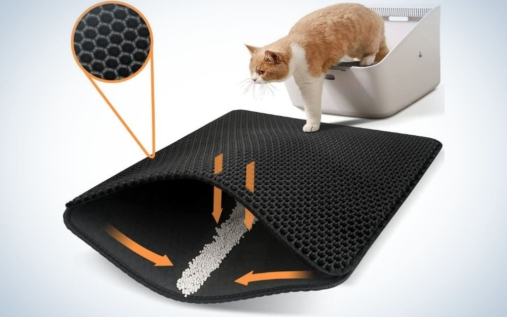 An orange cat which is standing on a white rubber box on a black carpet with two layers, where the top layer is with nets and small squares.