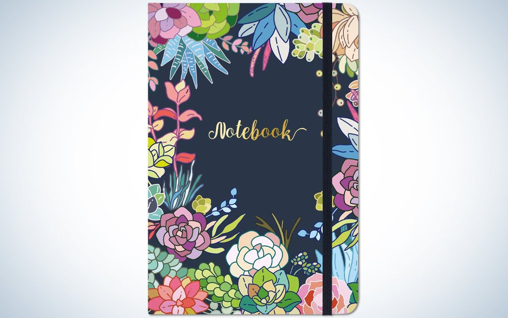 navy notebook with flowers on the cover that says