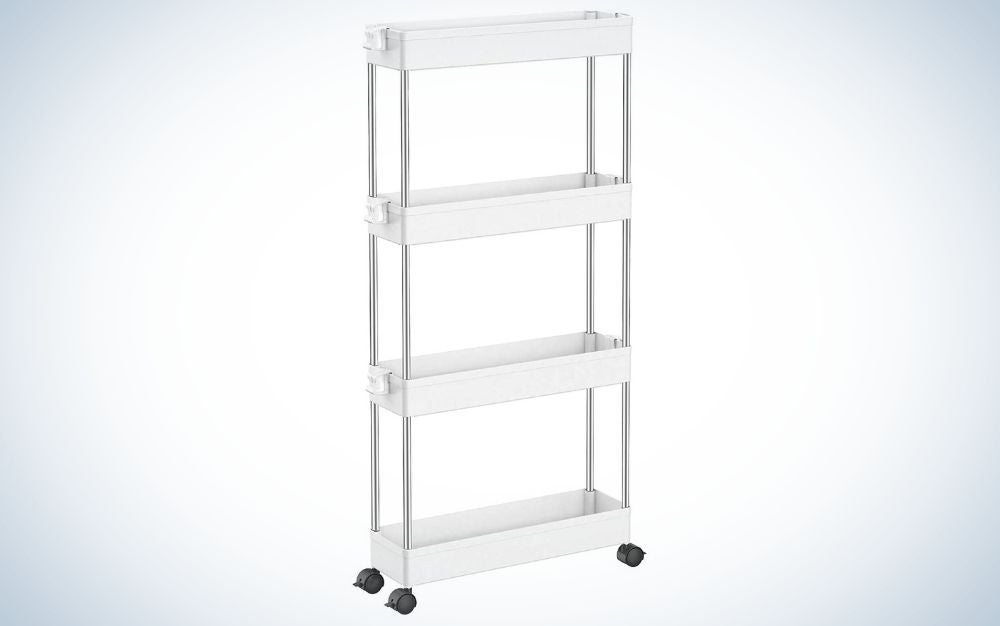 The Spacekeeper Slim Storage Cart is the best for small spaces.