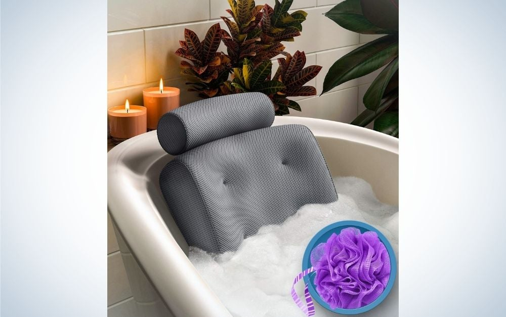 The Everlasting Comfort Pillow is the best padded bath pillow.