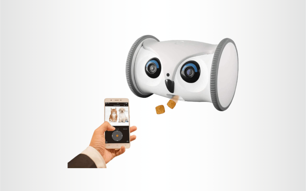 The SKYMEE Owl Robot is the best mobile pet camera.