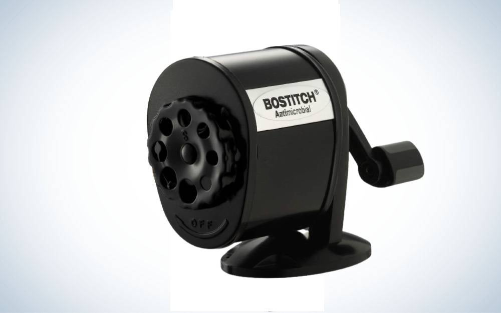 The Bostitch Metal Antimicrobial Manual pencil sharpener is classic and versatile addition to any home office