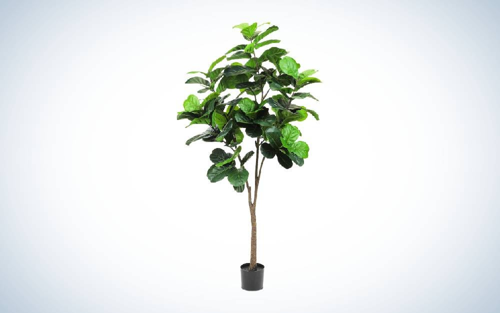 The Realead Artificial Plant Fiddle Leaf Fig Tree is one of the best fake plants for the floor.