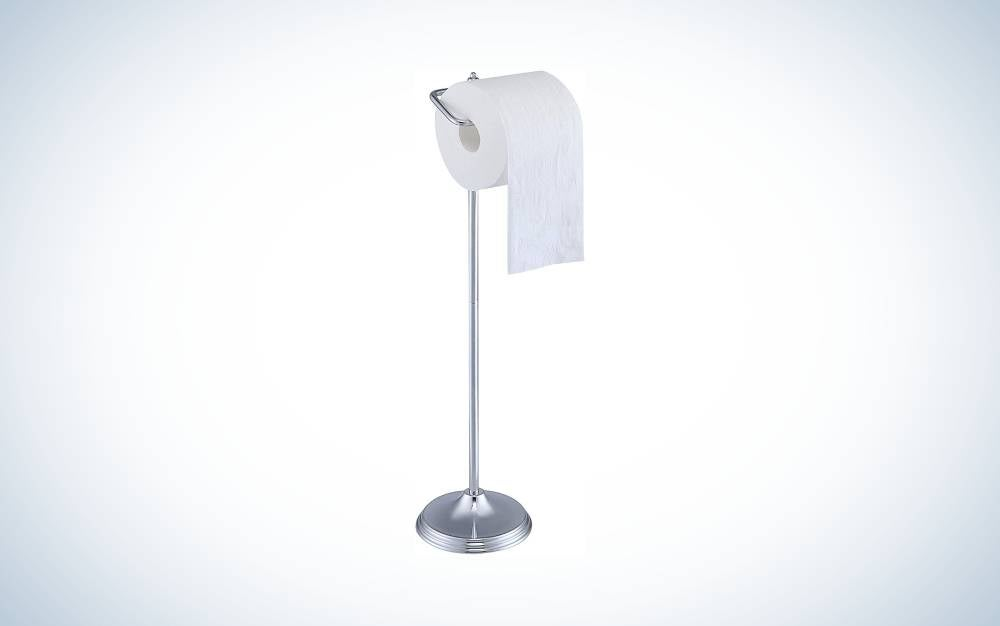 The SunnyPoint Bathroom Free Standing Toilet Tissue Paper Roll Holder Stand with Reserve Function is the best simple design.
