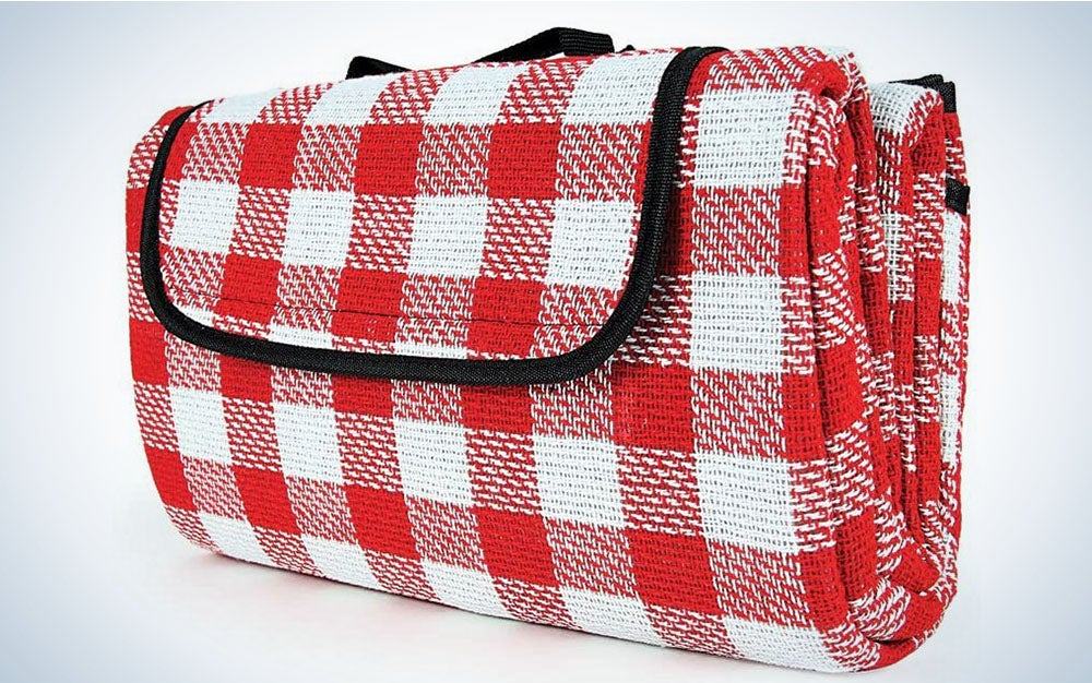 The Camco Classic Red & White Checkered Picnic Blanket is the best value.