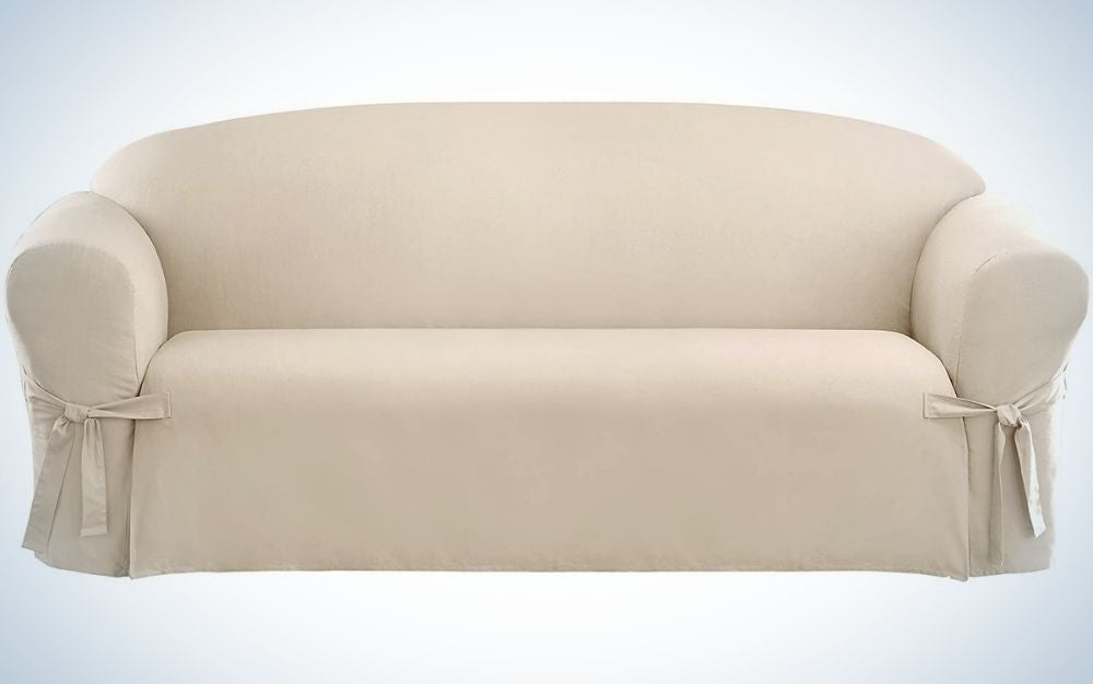 SureFit Cotton Duck One Piece Sofa Slipcover is the best relaxed fit.