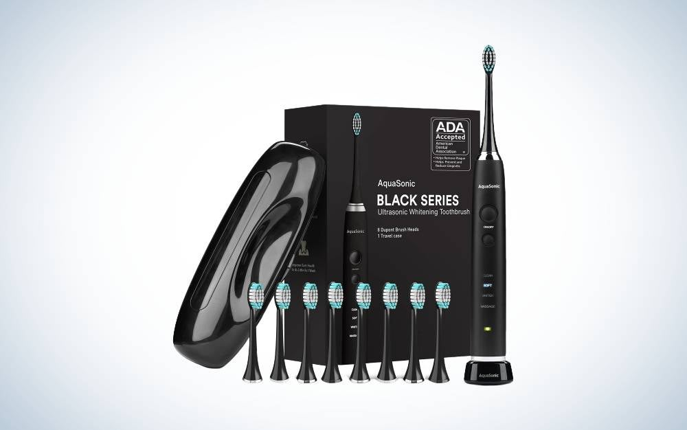 The AquaSonic Black Series Ultra Whitening Toothbrush is the best value.