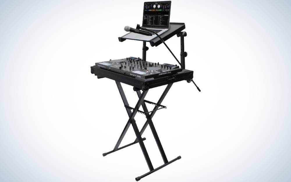 The Odyssey LTBXS2MTCP 2-Tieter DJ X-Stand is the best turntable stand for DJs.
